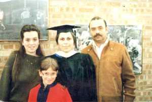 Left to right: Emily, Polina, Bena, Mike Shklyanoy. Lake Forest, IL. Year 1985.