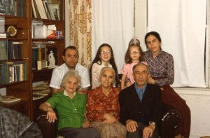 Left to right: 2nd row: Michail, Emily, Polina, Bena Shklyanoy; 1st row: Shifra Zivotovskaya, Rakhil Babinskaya, Avram Babinsky. Chicago. Year 1977.