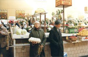 Kiev. Bessarabka market; meat section. Year 1997.