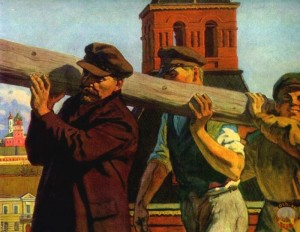 Painting by V. Ivanov. Revised representation of the scene where Lenin carries a log during the cleaning of the Kremlin campus May 1, 1920. In the original photograph, Lenin is last in the row of workers and has difficulties holding up the log. (Photo from traditio.wiki/Ленин_и_бревно).
